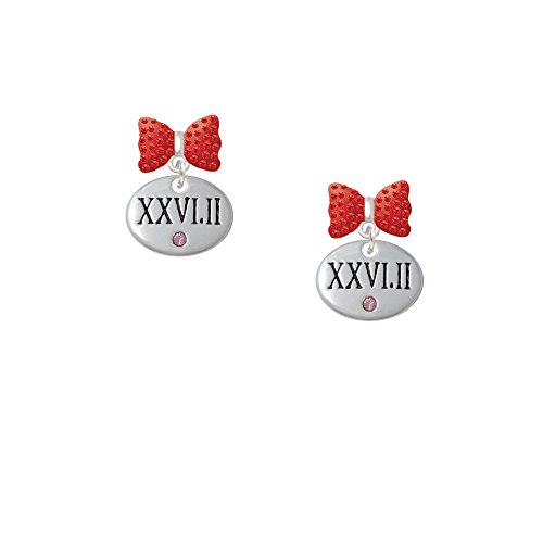 Marathon With Pink Crystal Roman Numeral - Red Bella Bow Earrings