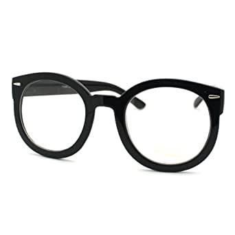 Thick Frame Glasses Black : Amazon.com: Black Oversized Round Thick Horn Rim Clear ...