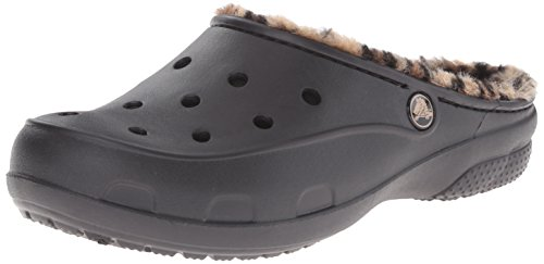 Crocs Freesailleopardlined, Pantofole a Collo Basso Donna, Nero (Black/Gold), 36-37 EU