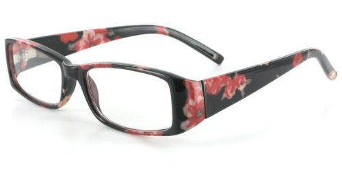 Luau RJ042 Fashion Reading Glasses with Modern Floral Design and Matching Case for Youthful Women With Narrow to Medium Faces Who Read in Style Black/Red +1.00