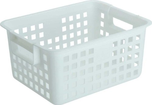 Plastic Basket - Set of 4 White Medium White  6 H x 9 75 W x 12 5 LB0000D8HLL