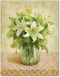 Cottage Lilies in White, Art Poster by Danhui Nai