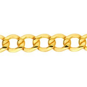 10K Solid Yellow Gold Curb Lite Chain Necklace 6.1mm thick 20 Inches