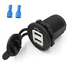 E-Bro Waterproof LED Dual USB Charger Adapter Socket 12-24V Marine Motorcycle Car