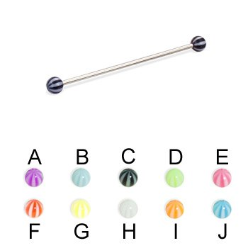 "Long Barbell (Industrial Barbell) With Beach Balls, 16 Ga,Length:1 1/2"" (38Mm),Ball Size:1/8"" (3Mm),Color:Light Blue - B"