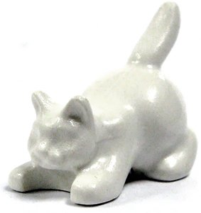 LEGO LOOSE Animal Figure White Cat [Crouched]