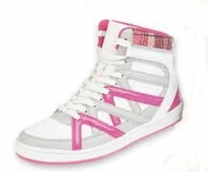 Womens White / bright pink Hi Top lace up flat ankle boots trainers NEW