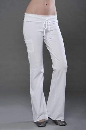 Ladies Yoga Pants - Cotton Spandex Raw Edge Pant with Side Pockets