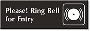 "Please Ring Bell For Entry (with Graphic), Outdoor Engraved Plastic, 12"" x 4"""