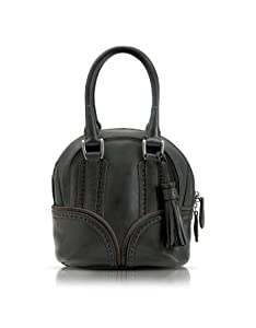 Pineider 1774 Black Micro Bowling Leather Bag by Pineider