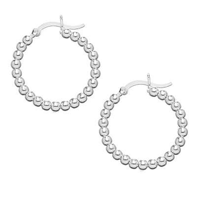 New Style Hoop Earrings Jewelry, Sterling Silver Designed with Beaded Circle(WoW !With Purchase Over $50 Receive A Marcrame Bracelet Free)