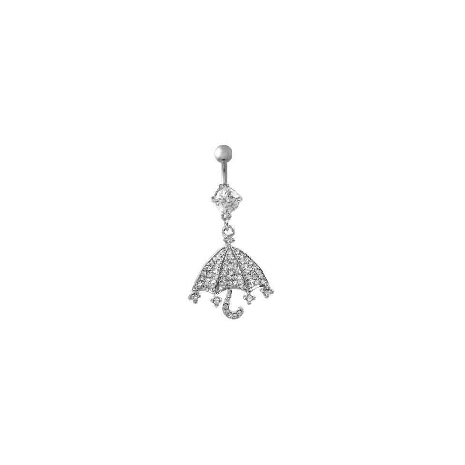 316L Surgical Steel Dangling Umbrella Belly Ring with Clear Crystals   14G   3/8 Bar Length   Sold individually