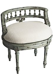 Petite Vanity Seat - Antique Blue front-800988