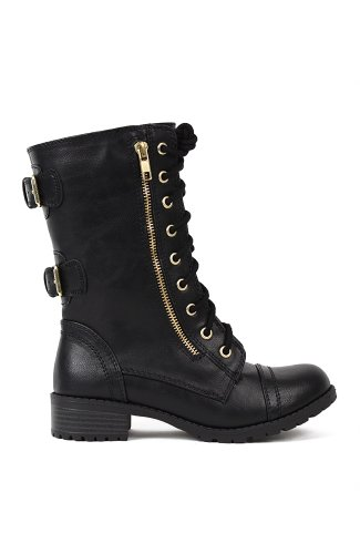 Soda Dome-SA Leatherette Mid-Calf Buckled Zipper Military Combat Boot - Black Gold