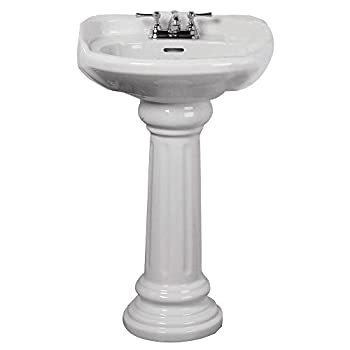 Elizabethan Classics ECAB4WH Aberdeen Pedestal Lavatory, 4-Inch Centers, White