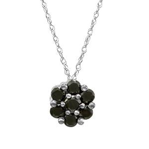 10k White Gold Black Diamond Pendant (1/2 cttw)