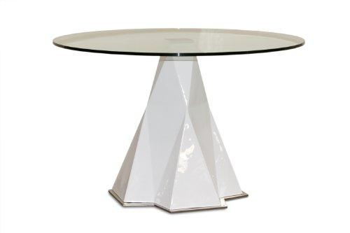 Cheap 47 White Round Glass Top Dining Table By Diamond Sofa (0751AW)