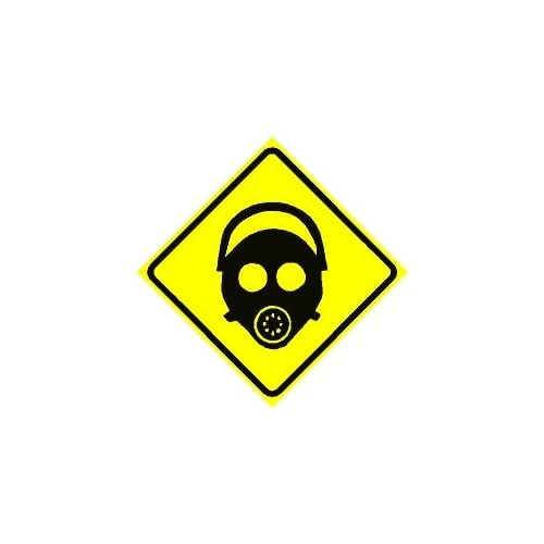 Gas Mask Area Warning Sign