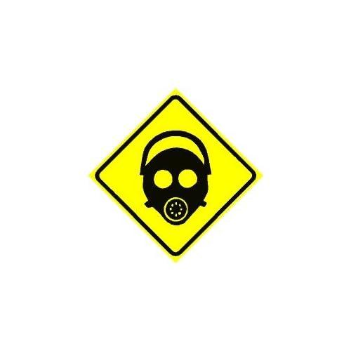 Gas Mask Warning Sign Gas Mask Area Warning Sign