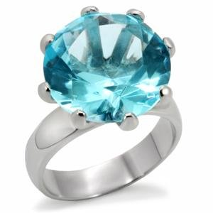 Stainless Steel Big Round Cut Aqua Marine Solitaire Right-Hand Ring