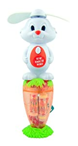 Easter Basket Filler Toy Bunny Fan with Spinning Ears on Smarties Candy Filled Carrot