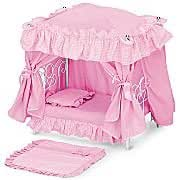 """Victorian Styling Pink Toy Doll Canopy Bed Fits 18"""" American Girl"""