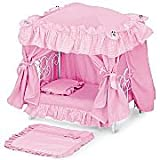 """Victorian Styling Pink Toy Doll Canopy Bed Fits 18"""" American Girl ~ JC INC"""