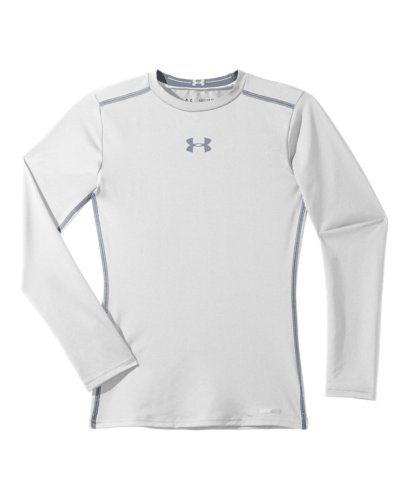 Under Armour Big Boys' Heatgear® Sonic Fitted Long Sleeve Youth Large White front-1004717