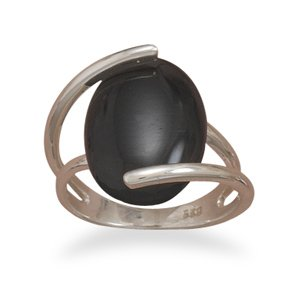 Sterling Silver Wrapped Black Onyx Ring / Size 7