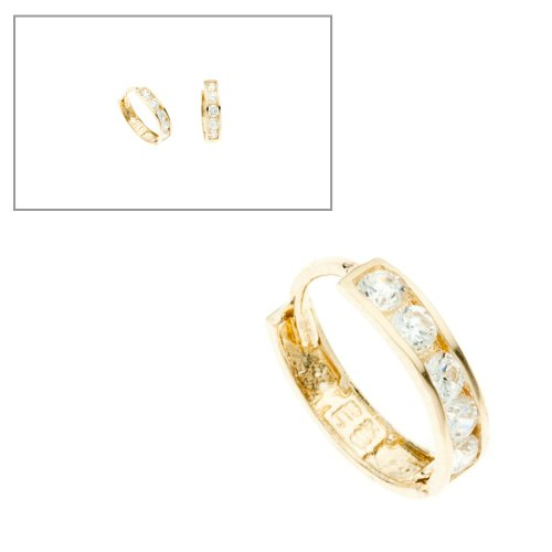 10KT Gold Small Channel CZ Huggies