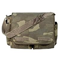 VINTAGE WOODLAND CLASSIC MESSENGER BAG Camo Canvas School Laptop