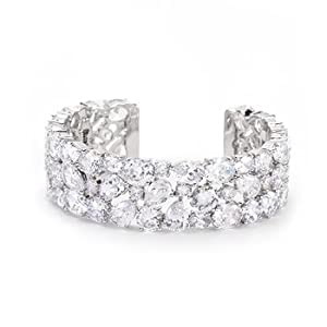 Rhodium Plated Bejeweled Cubic Zirconia Rowed Bracelet, Clear