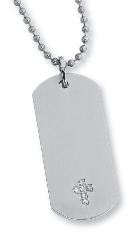 STEL Stainless Steel Diamond Cross Accent Dog Tag