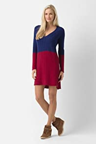 Long Sleeve Cable V-Neck Dress