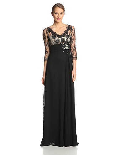 Ever Pretty Women'S 3/4 Sleeve Sheer Lace Rhinestone V-Neck Evening Gown, Black, 16