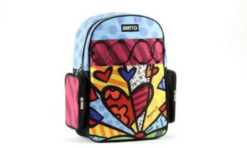 """Giftcraft Romero Britto """"A New Day"""" Heart Microfiber Backpack"""