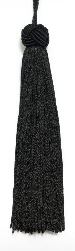 Best Price Set of 10 Black Woven Head Chainette Tassel, 5.5 Inch Long with 2 Inch Loop, Basic Trim C...