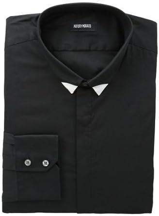 Antony Morato Men's Long-Sleeve Contrasting Collar Tip Shirt, Black, 48