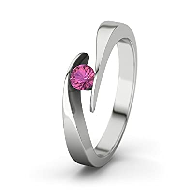21DIAMONDS Women's Ring Summertime Pink Tourmaline Brilliant Cut Engagement Ring - Silver Engagement Ring