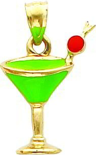 14K Gold Green Enameled Cosmo Drink w/Cherry Pendant