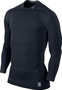 NIKE Herren langärmliges T-Shirt Pro Combat Core Compression Mock 2.0, Dark Obsidian/Cool Grey, L, 449795-477