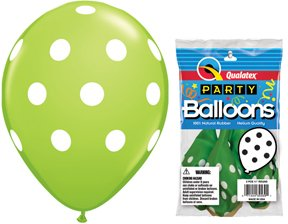 "PIONEER BALLOON COMPANY 5 Count Round Big Polka Dots, 11"", Lime"