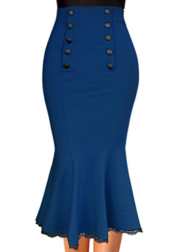 VfEmage Women's Elegant High Waist Party Work Mermaid Bodycon Pencil Midi Skirt 0