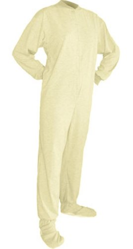 Big Feet Pjs White Jersey Knit Footed Pajamas No Drop Seat (Xs) front-477595