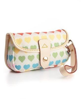 Dooney Bourke Rainbow Heart Flap Wristlet Case Bag for IPOD White