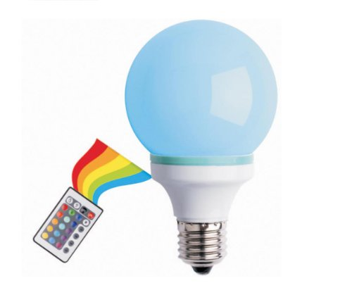 Creative Motion Multi-Color Changing 1-Watt Led Bulb With A Remote Controller