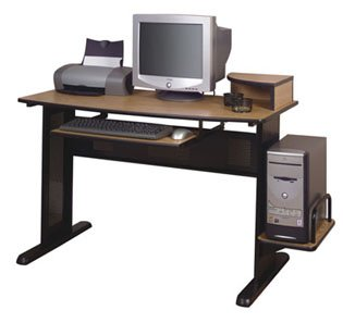 "Large Working Computer Desk (Medium Oak/Black) (34 1/4""H x 54 1/2""W x 23 1/2""D)"
