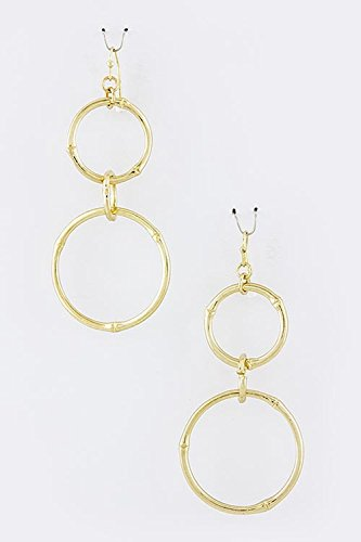 [KARMAS CANVAS DOUBLE CIRCLE DROP EARRINGS (Gold)] (Minnie Mouse Nose)