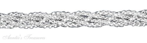 """18"""" Inch Sterling Silver Braided Popcorn Chain Necklace 5Mm"""