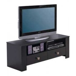 TV Stand Entertainment Unit Black Ash 2 Drawer Suitable for 42 Inch Television Bourne